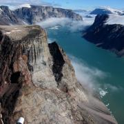 An aerial view of arctic lands