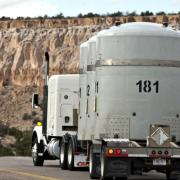 Nuclear waste being transported on a truck