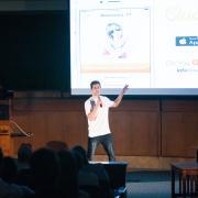 Student presents at 2015 New Venture Challenge