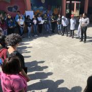 Photo of community gathering at Oakland International High School