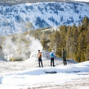 Snowshoeing on Old Faithful boardwalks