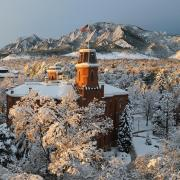Old Main building covered in snow