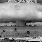 The U.S. Army tests a nuclear warhead off of Bikini Atoll in 1946.