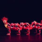 The dancers of MOMIX create a fantastical caterpillar through dance