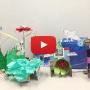 Paper robots created by student at Boulder Public Library makeathon