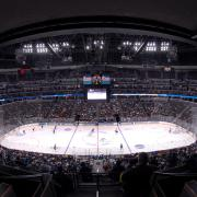 Hockey players on the Pepsi Center rink