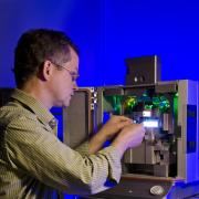 NIST/JILA biophysicist Tom Perkins, also a CU Boulder faculty member, used this atomic force microscope to measure protein folding in more detail than ever before.