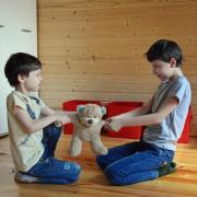 Stock image of two kids fighting over a teddy bear