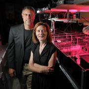 margaret murnane and henry kapteyn standing in their lab