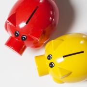 Stock photo of two piggy banks.