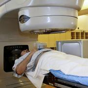 A person undergoing radiation therapy