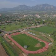 Aerial shot of Potts Field Track at CU Boulder