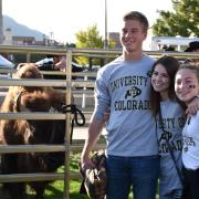 Buffs fans standing next to Ralphie the Buffalo