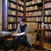Deven Parker, a fifth-year graduate student in the English department, studies in the Hazel Gates Woodruff reading room.