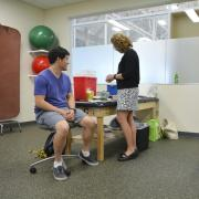 Students attend a free flu shot clinic at the Rec Center.