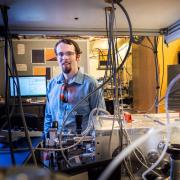 CU Boulder physicist Robert Karl in the lab