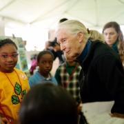 Jane Goodall speaking to children