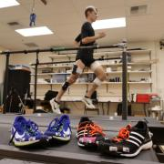 testing Nike 4% shoe on treadmill
