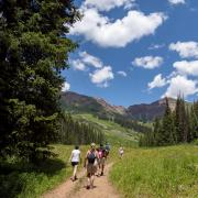 Group hikes Rustler's Gulch trail near Crested Butte