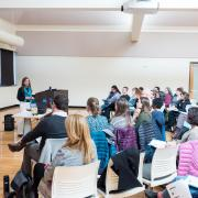 Feather Berkower facilitates a campus seminar on preventing child sexual abuse