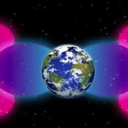 Illustration of Van Allen barrier shrouding Earth