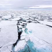An aerial image of polar sea ice