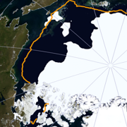 a satellite image showing Arctic sea ice cover