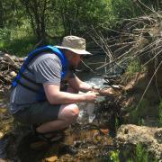 Researcher taking water sample in creek