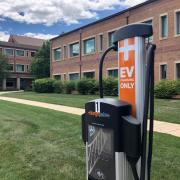 Electric vehicle charging station on campus