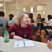 Sharon Matusik working with a student