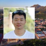 Shuo Sun's portrait over a scenic of the CU Boulder campus