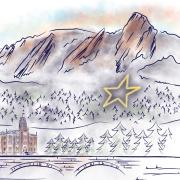 An illustration of the Boulder Flatirons, star and Old Main.