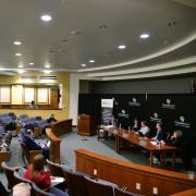 Panel discussion in Wittemyer Courtroom
