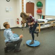 Student gets ready for ski season in the clinic