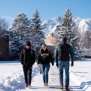 Students walking through snow-cleared sidewalk on campus