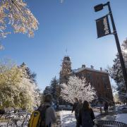 Students walk on snowy campus