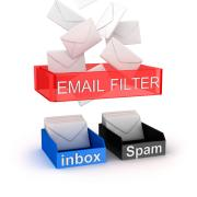 Illustration of email filtering to inbox and spam folder