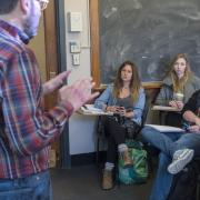 Professor Juan Herrero-Senes teaches his Spanish Culture class at Hellems