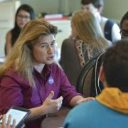 Michelle Thaller, Deputy Director of Science for Communications at NASA, speaks with students at the 2017 CWA