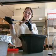 Irene Francino Urdaniz works on her spike protein research at the University of Colorado Boulder.