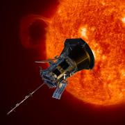 An illustration of the Parker Solar Probe in front of the sun