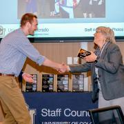 Staff member receiving Staff Excellence Award