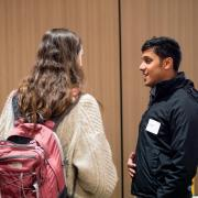 Students talk at the campus Startup Hub grand opening event
