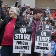 Picket line during Los Angeles teachers strike