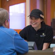 Campus Dining Services student-employee on the job