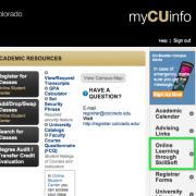 Screenshot of MyCUInfo student portal