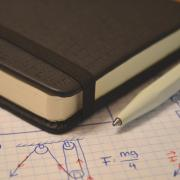 Notebook, pen and science notes