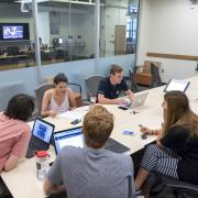 Students work together in a Norlin Library study room