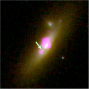 galaxy merger site with two black holes