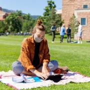 Student studying outside on campus